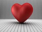 3d hjärta form i ett log-rum — Stockfoto