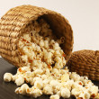 Popcorn in bowl isolated with white and brown background — Stock Photo