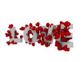 Kalp ile 3d aşk metin — Stok fotoğraf