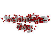 Valentine day text with 3d hearts — Stock Photo
