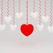 3d Hanging Hearts with white Background — Stock Photo