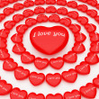 3d hearts around one big heart — Foto Stock