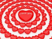 3d hearts around one big heart — Stock Photo