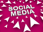 Social media text at center surrounded by pointing arrow — Stock Photo