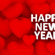 3d many hearts overlap, happy new year text — Foto Stock
