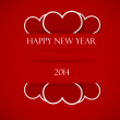 Happy new text on red strips, with hearts — Foto Stock