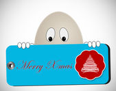Egg shaped character with merry christmas tag — Stock Photo