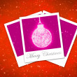 Christmas ball frame on staryy red background — Stok fotoğraf