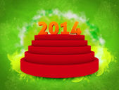 2014 text on 3d, over podium isolated green background — Stock Photo