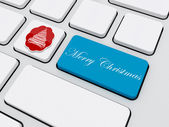 Christmas tree tag with text on keyboard — Stock Photo