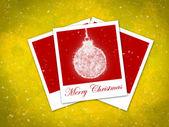 Christmas ball frame on staryy yellow background — Stock Photo