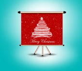 Christmas tree on billboard frame standing, 3d render — Stock Photo