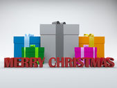 3d gift box merry christmas white red isolated on white backgrou — Stock Photo