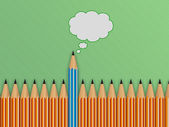Brightly colored pencils and speech bubble. concept of communica — Foto de Stock