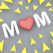 3d mom text with yellow arrow, mothers day concept — Stock Photo #44981309