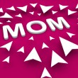 Mom text with arrow, happy mothers day concept — Stock Photo #45089367