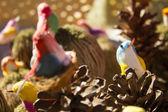 Bird toy in fair in nest — Stock Photo