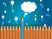 铅笔与讲话泡泡,庆祝活动背景 — 图库照片