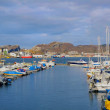 A photo of small Norwegian harbor North of the Polar Circle, Bodoe. Wintertime light. — Stock Photo