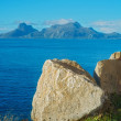 A photo of ocean and mountains in Norway - North of the Polar Circle, Bodoe — Foto de Stock