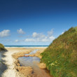 A photo a small creek running out in the ocean, Jutland, Denmark — Stock Photo