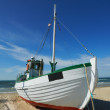 A photo of a Danish fishing boat at the beach — 图库照片