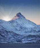 A photo of mountain with snow in early morning in Norway — Stock Photo