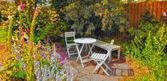 A photo of a colorful Danish summer garden — Stock Photo