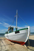 A photo of a Danish fishing boat at the beach — Stock Photo