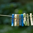 A photo of a diverse set of cloth pins in natural setting - Stock Photo