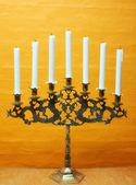 A photo of Hanukkah menorah with candles — Stock Photo