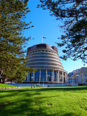 A photo of the Beehive building - Parliament of New Zealand in Wellington city — Stock fotografie