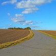 A photo of a country road and plowed fields - Stock Photo