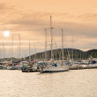 Sailboats in the harbor of Bodo, north of the Polar Circle. - Stock Photo