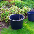 A photo of two buckets in a garden - Stock Photo