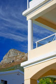 A photo of a balcony and mountain — Stock Photo