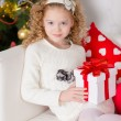 Christmas portrait of beautiful curly girl — Stock Photo