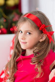 Cristmas portrait of little happy cute girl — Stock Photo