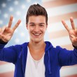 Young man cheering — Stock Photo