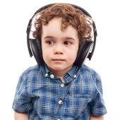 可爱的男孩,对现代技术 — 图库照片