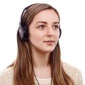 Beautiful listener — Stock Photo
