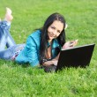 Royalty-Free Stock Photo: Woman on grass with laptop