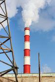 Chimney power plant against — Stock Photo