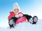 Girl with sleds on the hill — Stock Photo