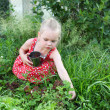 Stock Photo: Girl picked strawberries