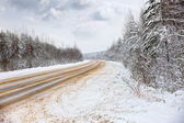 Winter road — Stock fotografie