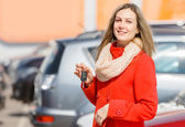 Girl and car — Stock Photo