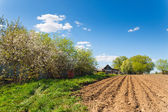 Plowed field on a background of rural houses — Stock Photo