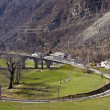 Brusio spiral viaduct at Swiss Alps — Stock Photo