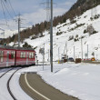 Railway crossing at Val Bernina — Stock Photo